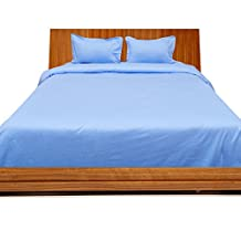 Relaxare Short Queen 300TC Light Blue Solid 4PCs Duvet Set Fitted Sheet Solid (Pocket Size: 18 inches)