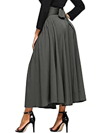 Women's High Waist Pleated A Line Long Skirt Front Slit Belted Maxi Skirt S-XXL