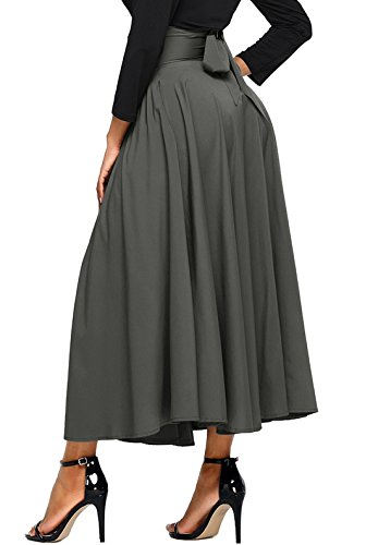 Asvivid Women's Plain High Waist Flare Pleated A-line Cotton Maxi Skirt Small Grey
