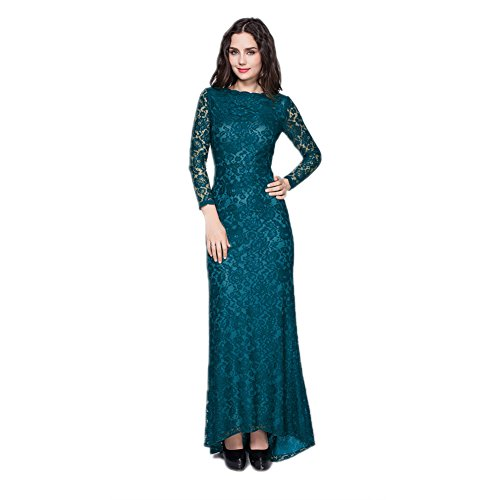 cotyledon Long Fit Slim Lace Neck Gowns Party Prom Round Dresses Blue Formal r5xrTwqY