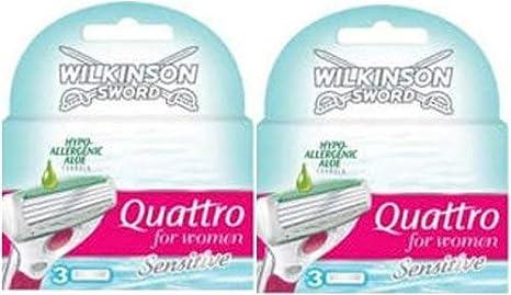 Wilkinson Quattro for Women Sensitive–Cuchillas de afeitar (2x 3unidades)