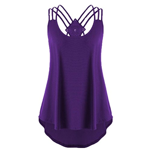 Clearance Sale! Wintialy Women Bandages Sleeveless Vest Top High Low Tank Top Notes Strappy Tank Tops (XX-Large, Purple)