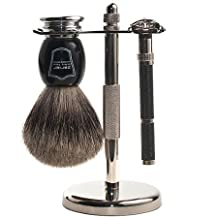 Parker 96R Safety Razor Shaving Set - Includes Pure Badger Brush, Stand & Parker 96R Butterfly Open Safety Razor