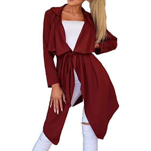 Coupe Casual Trench Veste Coat Revers Automne Loose Vent Cardigan juqilu 2XL Femmes Ceinture Coat Vin S avec Assymetric Rouge 1ngqwOx5