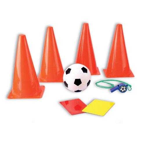 8teiliges Fußball Trainingsset mit Hütchen, Fußball, Pfeife und roter / gelber Karte im praktischen Tragenetz