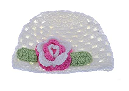 6d1f56c6510 Image Unavailable. Image not available for. Color  HUAJI Lovely Baby Flower  Crochet Beanie Handmade Hat ...