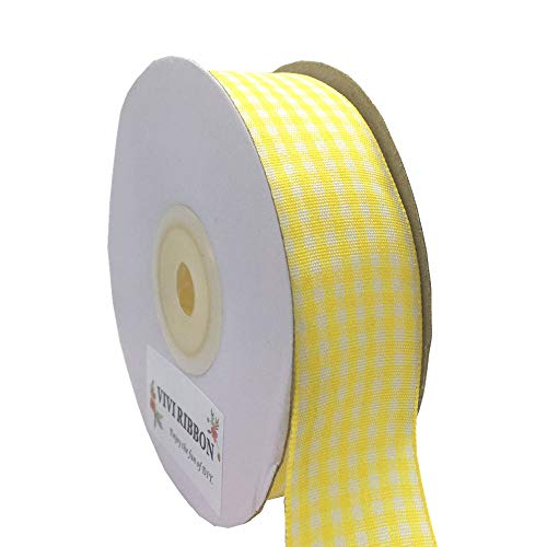Plaid Ribbon Gingham Ribbon Yellow Check Ribbon 1-Inch 25 Yard Each Roll 100% Polyester Woven Edge for Crafts, Gift Packing, Wedding Decoration ()