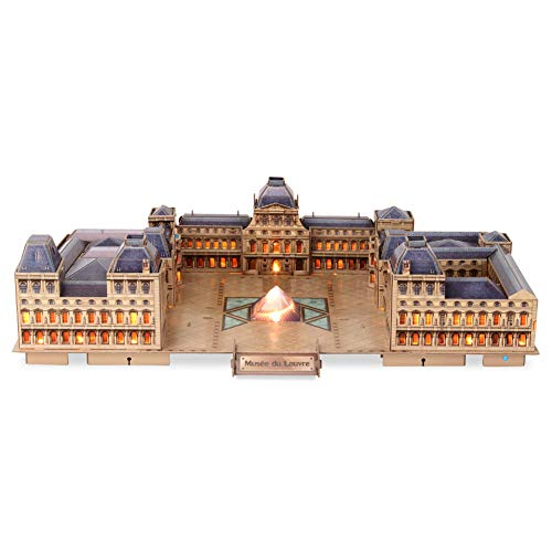 CubicFun 3D French Puzzles Paris LED Architecture Building Model Kits for Adults, Louvre Paris France Lighting Up in Night