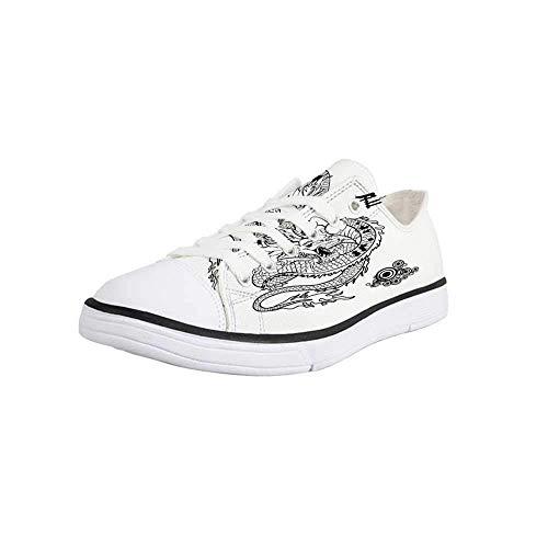 Canvas Sneaker Low Top Shoes,Japanese Dragon,Tattoo Art Style Mythological Dragon Figure Monochrome Reptile Design Women 10/Man 7 ()