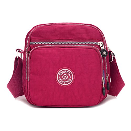 Red Rouge avec bandoulière Petit Messenger bandoulière imperméable Purplish sac poches sac nylon Chou à léger compact en 7710qaT6