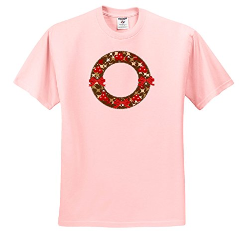 3dRose Anne Marie Baugh - Christmas - Red and Green Christmas Holly Berry Wreath and Bows Illustration - T-Shirts - Toddler Light-Pink-T-Shirt (2T) (ts_266708_47) - Christmas Wreath Holly Bow