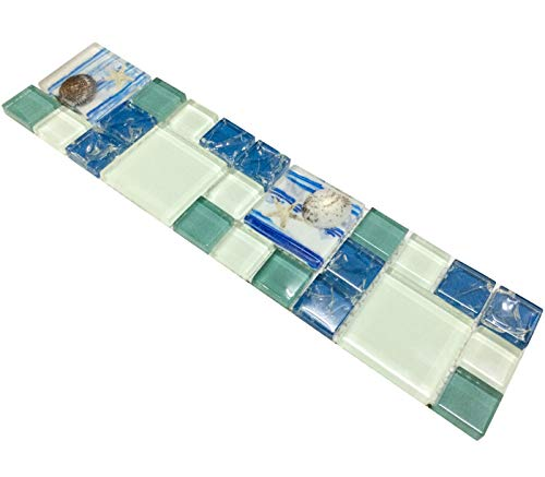 Hominter Tile Sample 3 x 12 Inches: Blue and White Glass Backsplash Tiles, Resin Shell Tile Beach Style House, Perfect for Kitchen Backsplashes and Bathroom Walls and Shower Accents GC370