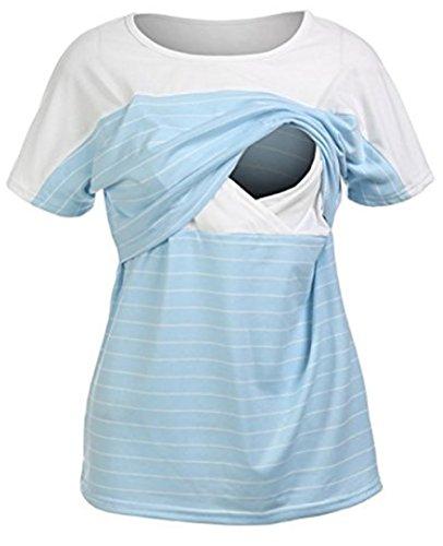 夏 授乳Tシャツ 授乳服 半袖 授乳口付き マタニティトップス ストレッチコットン 授乳 産前 産後 (ブルー+ホワイト, S)