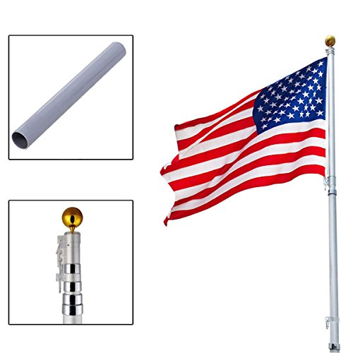 New 20Ft Aluminum Telescoping Flagpole Kit Outdoor Gold Ball + 1 US America Flag (Walmart Garden Flags)