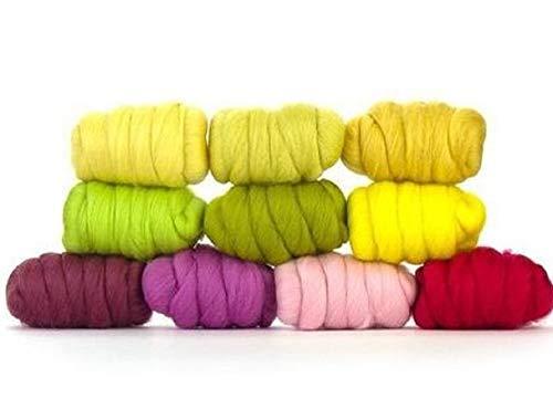 Paradise Fibers Mixed Merino Wool Bag - Spring Blossom (Multi Colored) - Merino Wool Fiber Lot Perfect for Needle Felting, Wet Felting, Hand Spinning, and Blending - Merino Wool Fiber