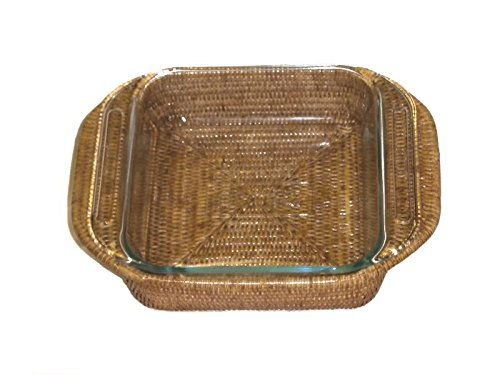 Artifacts Trading Company Rattan Square Baker Basket with Pyrex Included, 8