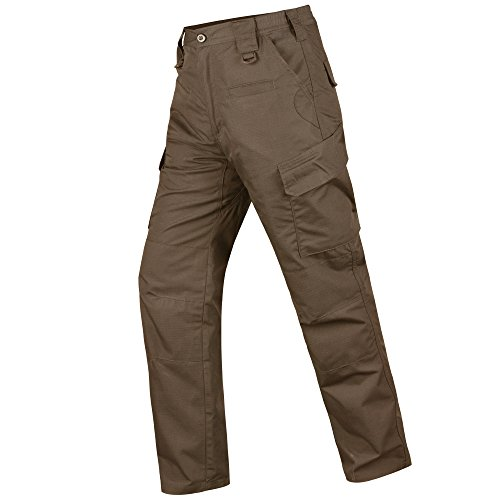HARD LAND Men's Waterproof Tactical Pants Ripstop Cargo Work Pants with Elastic Waist for Hunting Fishing Hiking Size 40×30 Coyote Brown