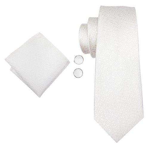 Hi-Tie Men Pure White Paisley Floral Tie Necktie with Cufflinks and Pocket Square Tie Set