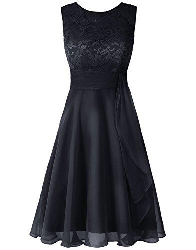 Wedtrend Women's Short Chiffon Bridesmaid Dress Lace Dress WT12088Navy -