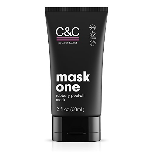 C&C by Clean & Clear Mask One Rubbery Peel Off Facial Mask, Removes Dirt + Blackheads, Cleans Pores, Oil-Free Pink Face Mask, Not Tested on Animals, 2 fl. oz.
