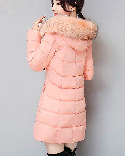Cappuccio Pink Giacca Lunga Donna Caldo Penggeng Spessore Con Addensare Cappotto Cerniera 0FnxvvWAwq