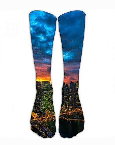 SARA NELL Men Women Classic Crew Socks Skyline