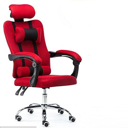Sedia da ufficio, schienale alto, Racing Style, per gaming, ben imbottita, con poggiapiedi e cuscino lombare, design ergonomico reclinabile, regolabile in altezza, SZ5CGJMY® Red SZ5CGJMY® Red
