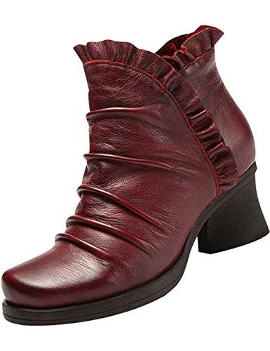 en Chaussures latérale Fermeture Rouge éclair cuir Femmes à hauts Youlee talons Bottes 7Izwaqtn