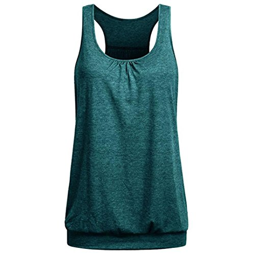 iTLOTL Womens Sleeveless Round Neck Wrinkled Loose Racerback Workout Tank Top Blouse(US:14/CN:XXL, Green )