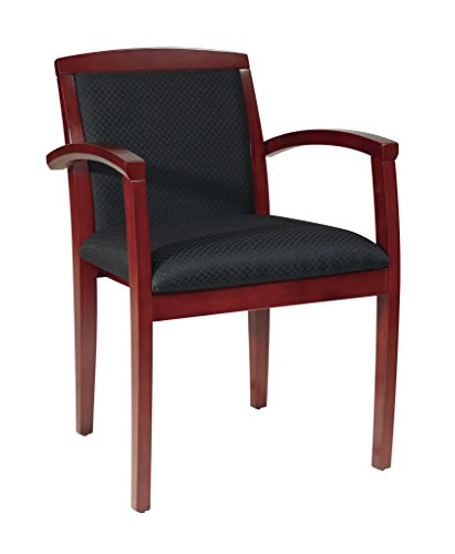 Office Star Sonoma Full Cusion Black Upholstered Back and Seat Wood Guest Chairs, Cherry Finish, 4-pack