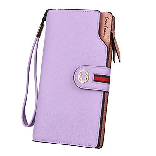 Múltiples Billetera Con Monedero Cartera Gtuko Rfid Bifold Pink Compartimentos Mujer Red Para Larga Purplepink Bbo 8vqdx4w08
