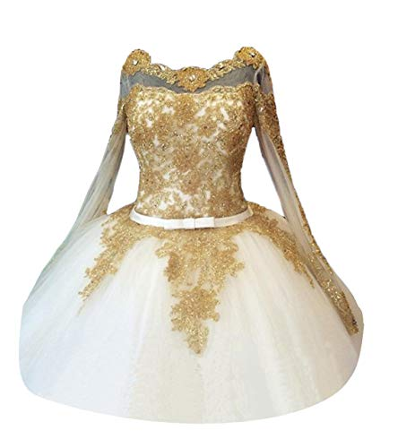 TBGirl Luxury Gold Colored Appliques Long Sleeve Organza Corset Wedding -