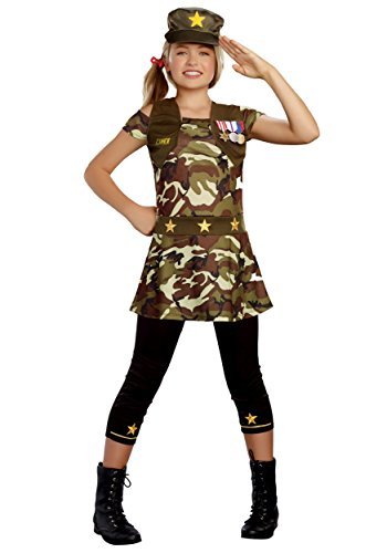 Dream Girl Girl's 9932 3 PC Cadet Cutie Costumes,CAMOUFLAGE,XL (Camo Cutie Costumes)