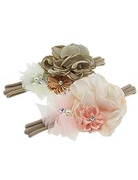 Baby Girls Floral Headbands Nylon Hair Band for Newborn Infant Toddler (Satin flower)