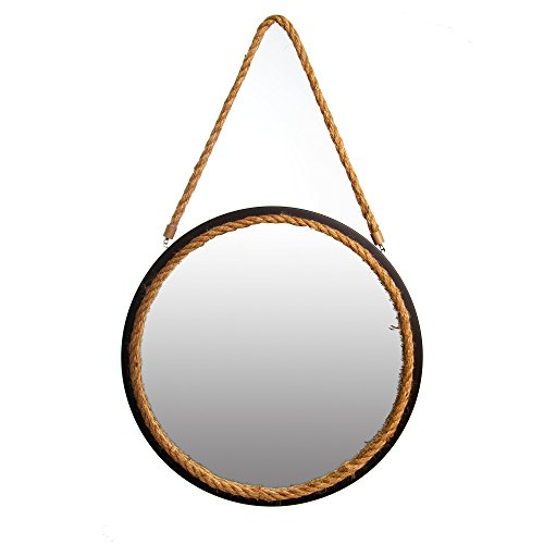 (Patton Wall Decor 16 Inch Oil Rubbed Bronze Round Rope Wall Mirror,)
