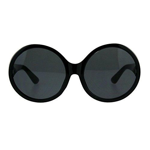 Womens Mod Round Plastic Circle Lens Retro Sunglasses All Black -