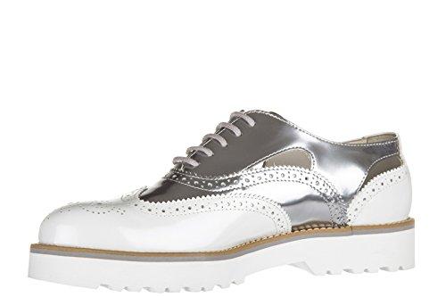 Hogan chaussures à lacets classiques femme en cuir h259 route derby forato blanc
