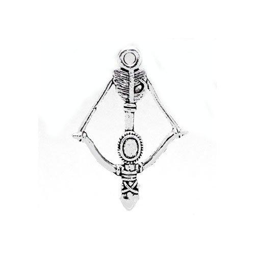 Paquet 5 x Argent Antique Tibétain 36mm Breloques Pendentif (Arc Et Flèche) - (ZX04510) - Charming Beads