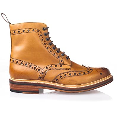 59baa55a697 Grenson Fred Tan Leather Brogue Boots for Men (UK8.5 / EU42.5 ...
