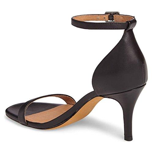 Fsj Femmes Sexy Sandales À Bride À La Cheville Ouvert Orteils Stiletto Talons Party Cocktail Confort Chaussures Taille 4-15 Us Noir