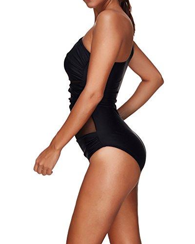 Mujer Monokini Trajes de Baño Bañador de Plus Size Verano Bikini para Playa Una Pieza Swimsuits Negro