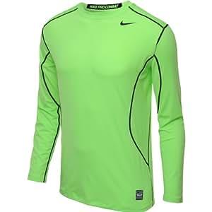 Nike Men's Pro Combat Core Fitted 2.0 Long-sleeve Performance T-shirt (2XL, Flash Lime/Black)