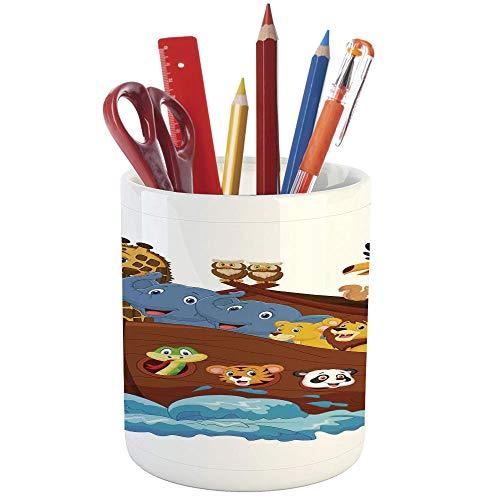 Pencil Pen Holder,Noahs Ark,Printed Ceramic Pencil Pen Holder for Desk Office Accessory,Noahs Ark Owl Pet Rabbit Mouse Panda Old Testament Symbol Cheery Joyful Display