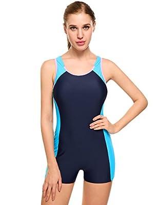 Ekouaer Womens One Piece Swimsuit Sports Racer Back Tankini Boyleg Swimwear