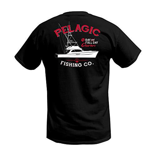 PELAGIC Charter Fishing T-Shirt | Size XL | Black