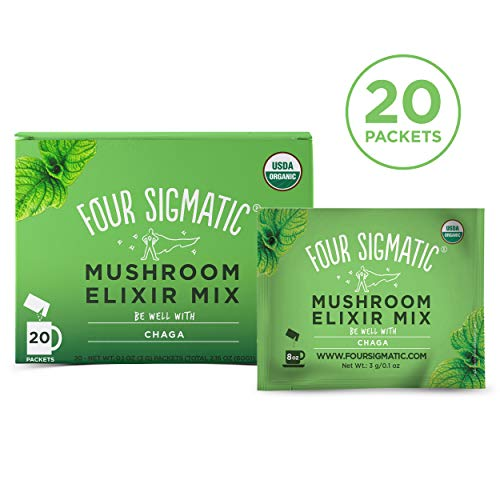Four Sigmatic Chaga Mushroom Elixir - USDA Organic Chaga Mushroom Powder - Wellness, Immunity - Vegan, Paleo - 20 Count ()