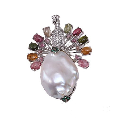 JYX Fine Peacock-style White Baroque Pearl Pendant with Colorful Tourmaline by JYX Pearl