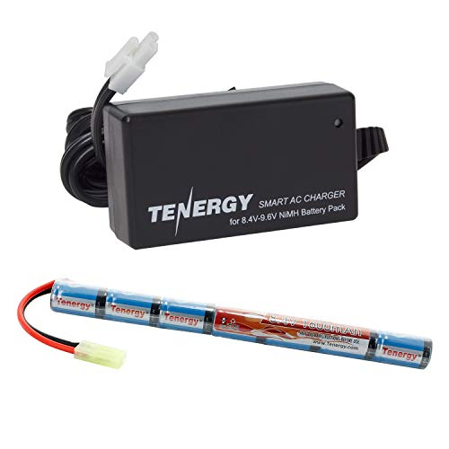 Tenergy Airsoft Battery 8.4V 1600mAh NiMH Stick Battery High Performance Stick Style Batteries w/ Mini Tamiya Connector, Replacement Battery for Airsoft Rifle AEG Guns + 8.4V-9.6V NiMH Battery Charge (Battery Style Lipo)