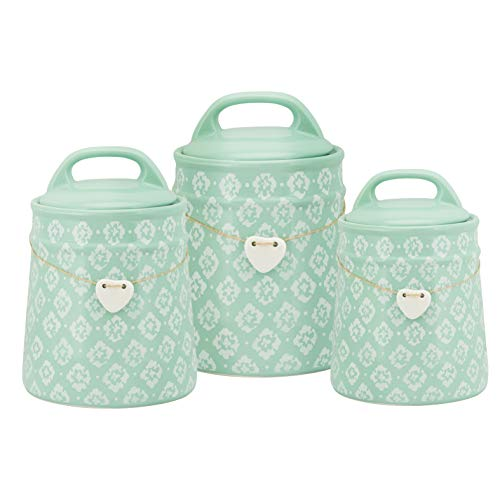 10 Strawberry Street CAN-BLSM-TRQ-SET Blossom Ceramic Canister, 3 Piece, Turquoise