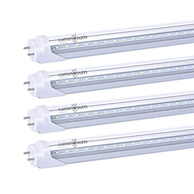 LUMINOSUM T8 T10 T12 LED Tube Lights 4ft 48'' 20W (40W Equivalent) 5000K, G13 Dual-Ended Powered Clear Cover, ETL Listed Fluorescent Light Replacement, 4-Pack